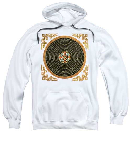 Tibetan Thangka - Buddhist Mandala With Double Vajra Over White Leather Sweatshirt