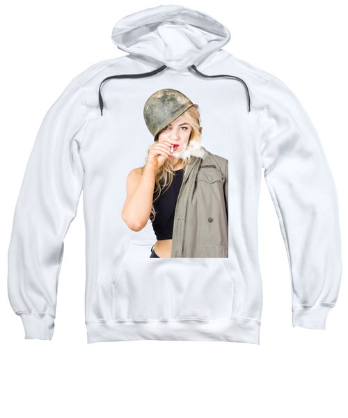 Tough And Determined Female Pin-up Soldier Smoking Sweatshirt