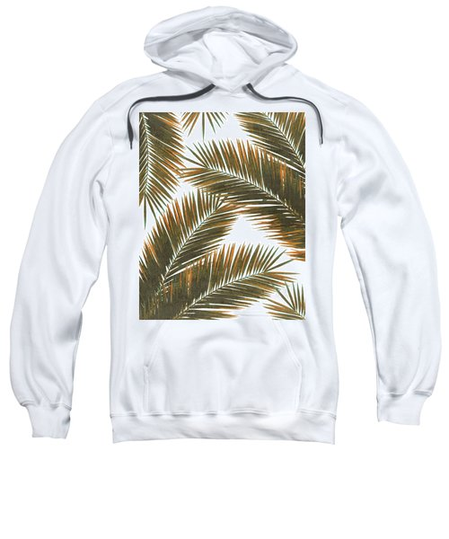 Tropical Palm Leaf Pattern 6 - Tropical Wall Art - Summer Vibes - Modern, Minimal - Brown, Copper Sweatshirt