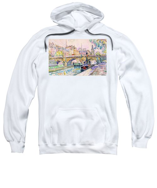 Tugboat At The Pont Neuf, Paris - Digital Remastered Edition Sweatshirt
