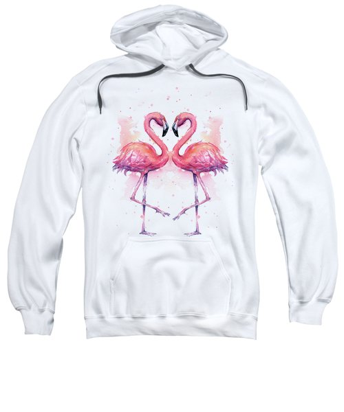 Two Flamingos In Love Watercolor Sweatshirt