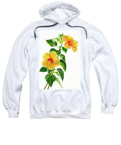 Two Yellow Hibiscus Flowers Sweatshirt