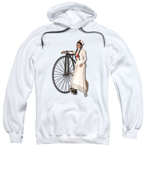 Victorian Nurse Along Penny Farthing Bicycle Sweatshirt