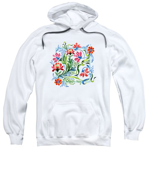 Watercolor Garden Folk Floral In Vintage Style Sweatshirt