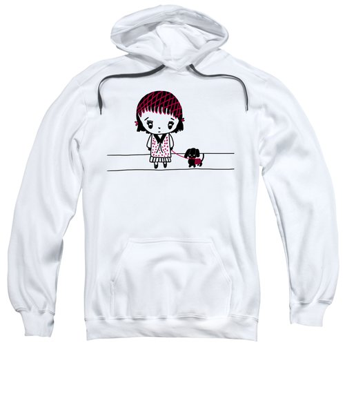 Whimsy Girl And Dog In Black And Red Sweatshirt