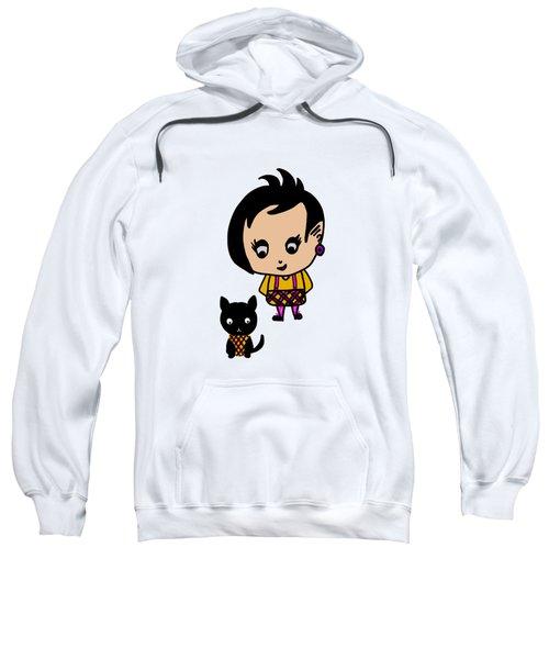 Whimsy Girl And Dog In Tartan Sweatshirt