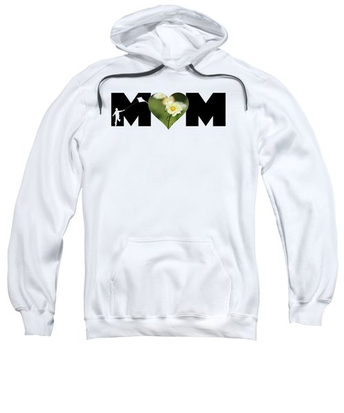 White Cosmos In Heart With Little Boy Mom Big Letter Sweatshirt