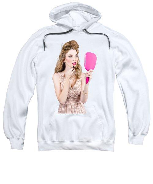 Woman Applying Lip Makeup With Cosmetics Mirror Sweatshirt