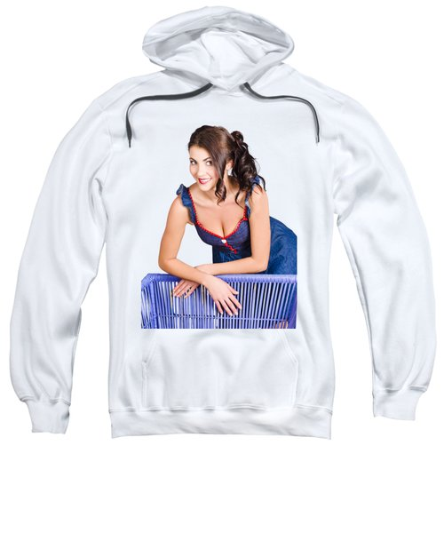 Woman In Bright Make-up Relaxing On Home Furniture Sweatshirt