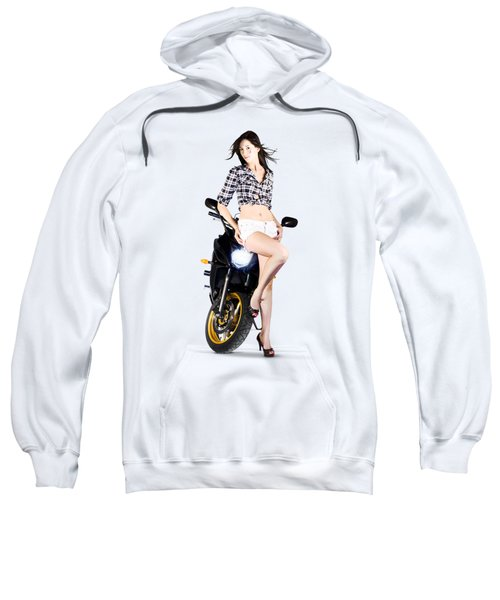 Woman Leaning On A Motorbike Sweatshirt