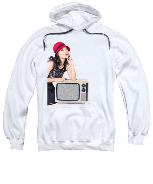 Woman On Retro Tv. Fifties Copyspace Broadcast Sweatshirt