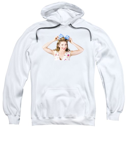 Woman Playing With Hair Tie. Retro Accessories Sweatshirt