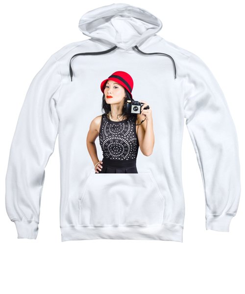 Woman With An Old Camera Sweatshirt