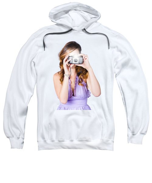 Woman With Camera On White Background Sweatshirt