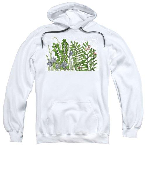 Woodland Ferns Violets Nature Illustration Sweatshirt