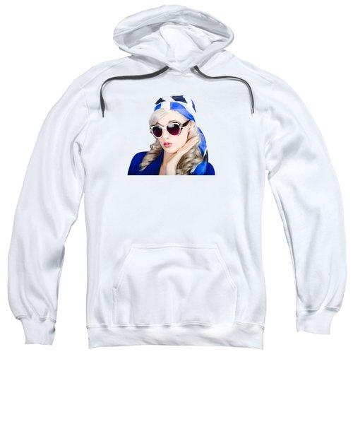 Young Beautiful Retro Girl In Glasses Sweatshirt