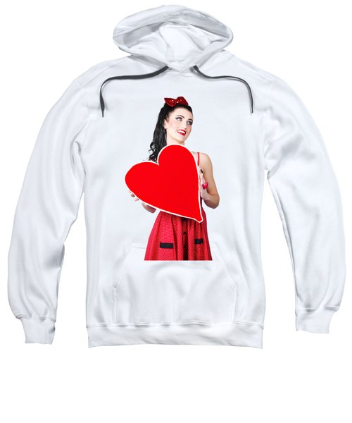 Young Lady Holding Retro Red Heart Card Sweatshirt