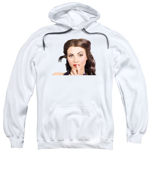 Young Model With Bright Make-up And Clean Nails Sweatshirt