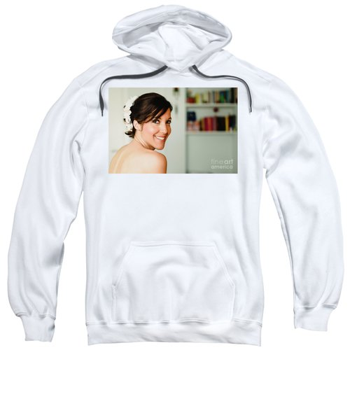 Young Woman From Behind Smiling Sweatshirt