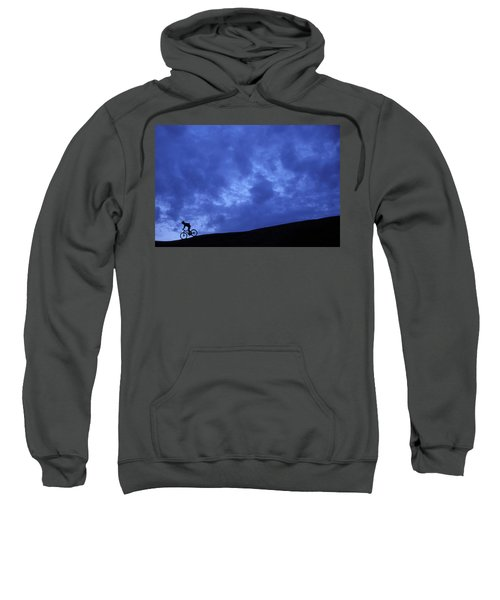 A Silhouette Of A Woman Mountain Biking Sweatshirt
