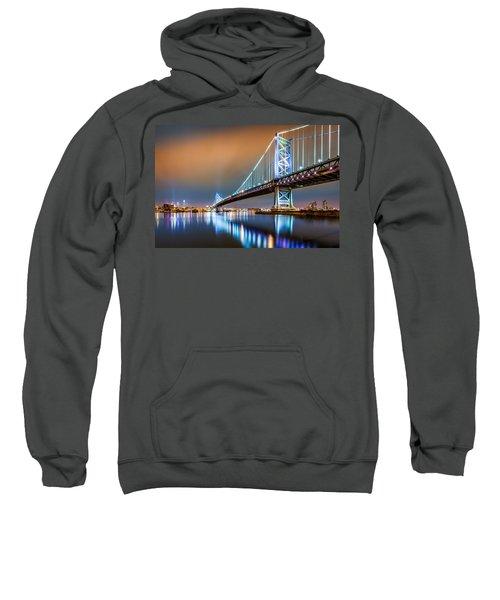 Ben Franklin Bridge And Philadelphia Skyline By Night Sweatshirt