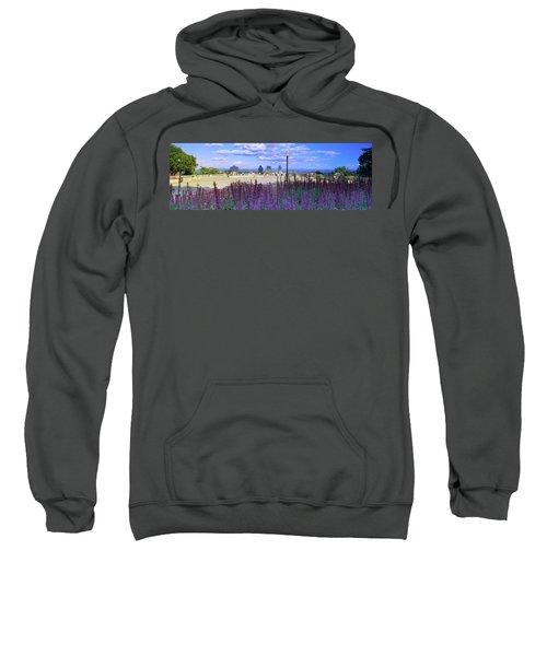 Blooming Flowers With City Skyline Sweatshirt