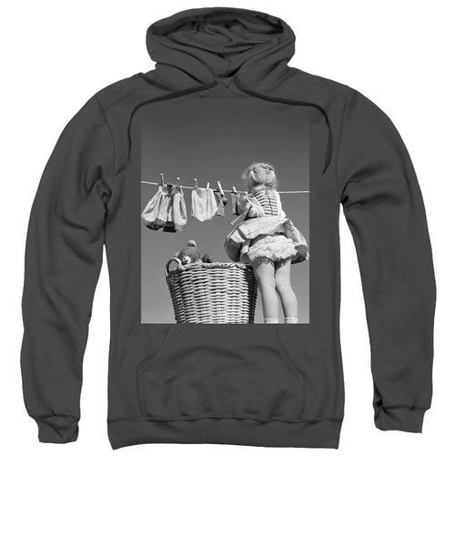 1950s Back View Of Girl Hanging Laundry Sweatshirt