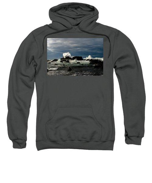 Stormy Seas And Spray Under Dark Skies  Sweatshirt