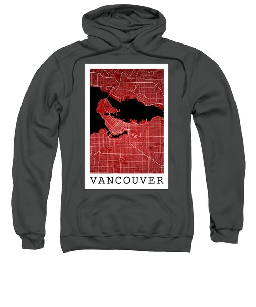 Vancouver Street Map - Vancouver Canada Road Map Art On Colored  Sweatshirt