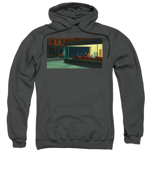 Sweatshirt featuring the painting Nighthawks by Edward Hopper