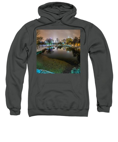 Charlotte Nc Skyline Covered In Snow In January 2014 Sweatshirt