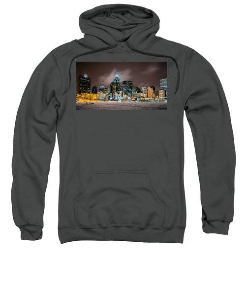 Charlotte Queen City Skyline Near Romare Bearden Park In Winter Snow Sweatshirt