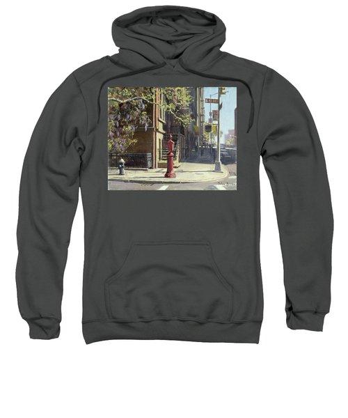 91st Street At Lexington Avenue Oil On Canvas Sweatshirt