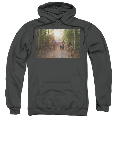 A Family Of Five With A Dog Enjoy Sweatshirt