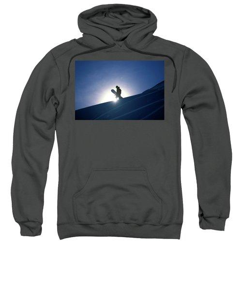 A Female Snowboarder Hiking Sweatshirt