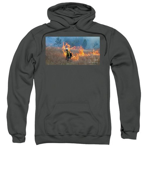 A Firefighter Ignites The Norbeck Prescribed Fire. Sweatshirt