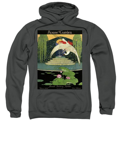 A House And Garden Cover A Bird Over A Pond Sweatshirt