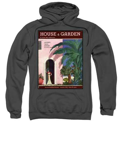 A House And Garden Cover Of A Woman In A Doorway Sweatshirt