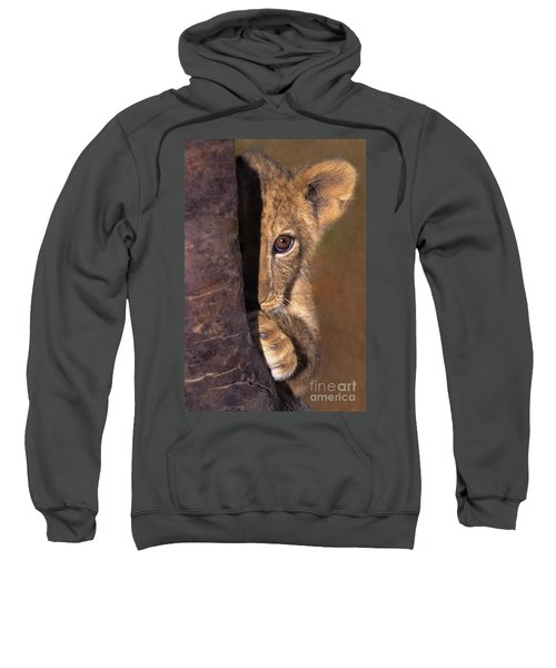 A Lion Cub Plays Hide And Seek Wildlife Rescue Sweatshirt
