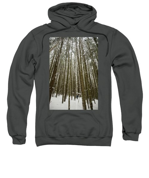 A Lone Skier Skins Up A Track Sweatshirt