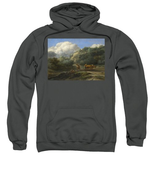 A Man And A Youth Ploughing With Oxen Sweatshirt