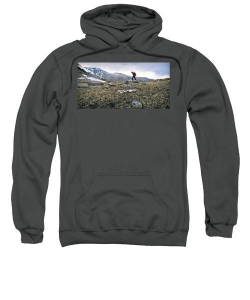 A Man Hikes Towards Mt. Neva 12,814 Ft Sweatshirt