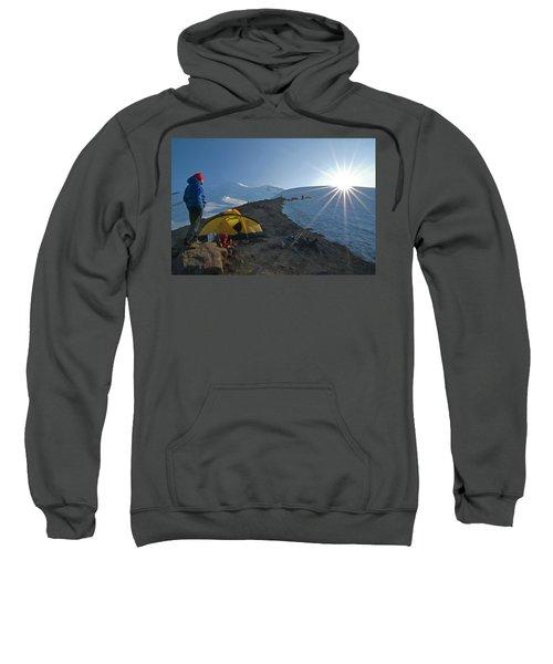 A Mountaineer Contemplates The Sun Sweatshirt