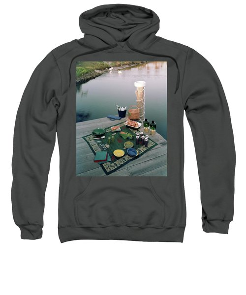 A Picnic Set Up On A Dock Sweatshirt