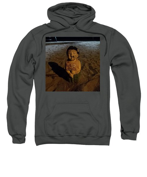 Sweatshirt featuring the photograph A Welcoming Friend On My Night Stroll by Mr Photojimsf