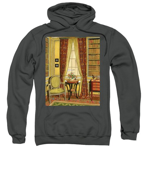 A Yellow Library With A Vase Of Flowers Sweatshirt
