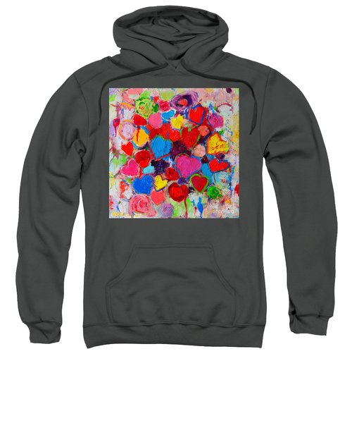 Abstract Love Bouquet Of Colorful Hearts And Flowers Sweatshirt