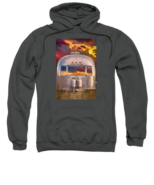 Airstream Travel Trailer Camping Sunset Window View Sweatshirt