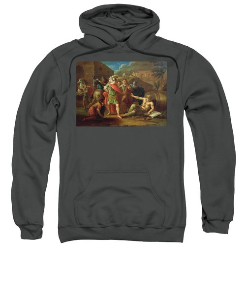 Alexander The Great Visits Diogenes At Corinth, 1787 Oil On Canvas Sweatshirt