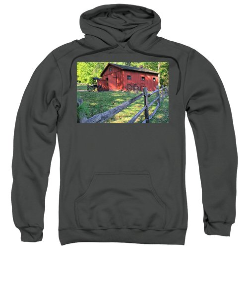 Amish Barn Along A Fenceline Sweatshirt